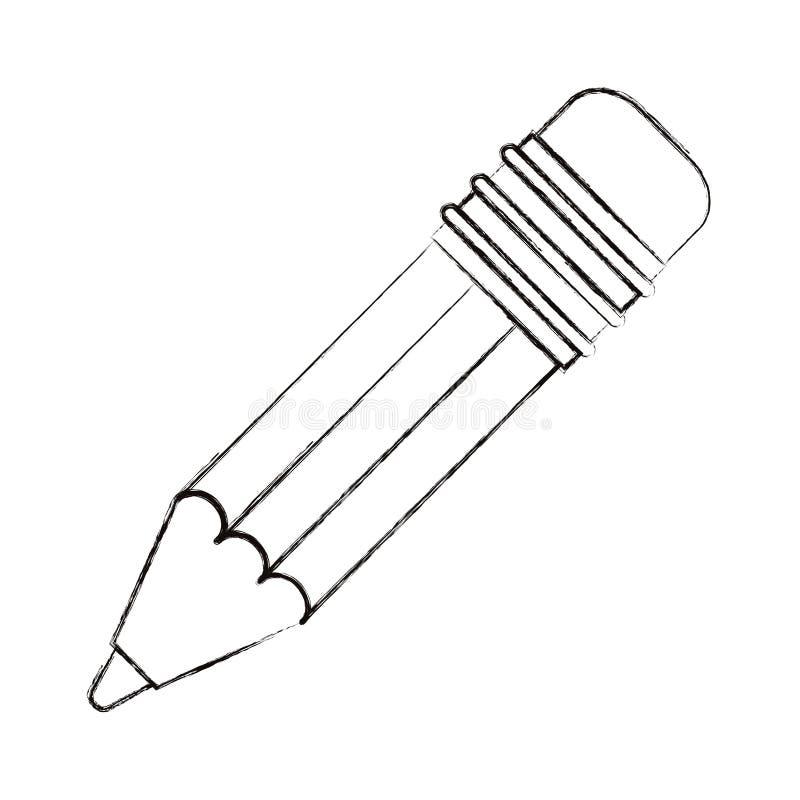De schets vertroebelde het potlood van het silhouetbeeld met gom royalty-vrije illustratie
