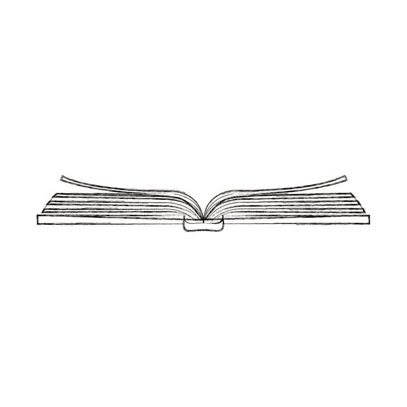 De schets vertroebelde hoogste de menings open boek van het silhouetbeeld royalty-vrije illustratie