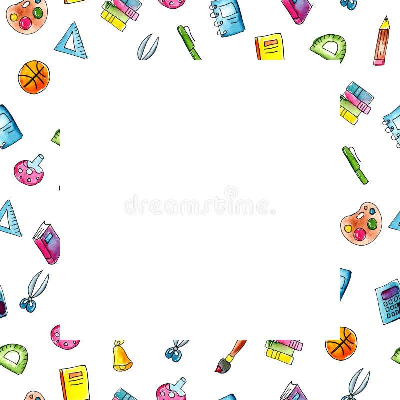 De schets vierkant kader van de waterverfillustratie van schoolonderwerpen vector illustratie