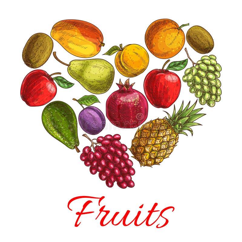 De schetsaffiche van het fruithart voor dranken, voedselontwerp royalty-vrije illustratie