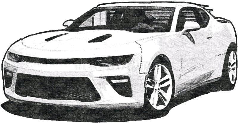 De Schetsart. van Chevrolet Camaro stock illustratie