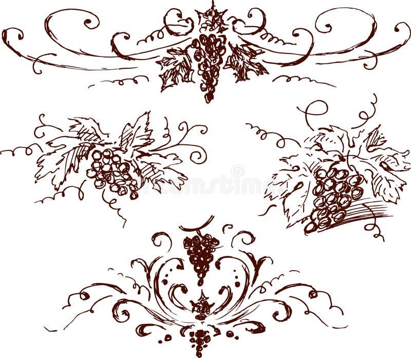 De schetsen van de druif royalty-vrije illustratie