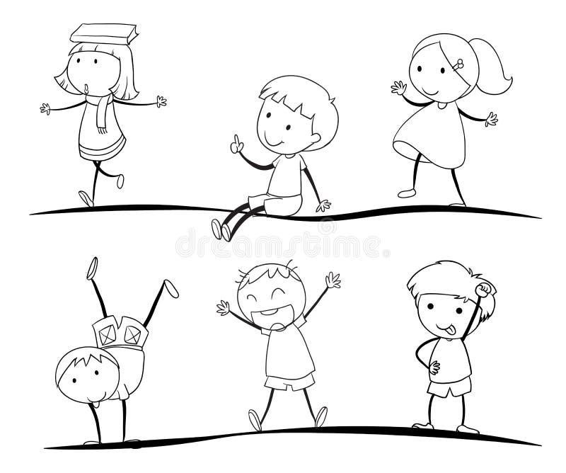 De schetsen van jonge geitjes royalty-vrije illustratie