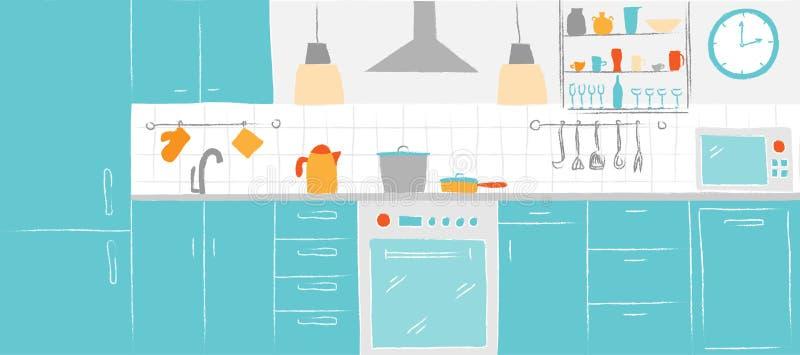 De schetsenhand die van de keuken binnenlandse kleur vooraanzicht trekken De keukenmeubilair en materiaal van de contour vectoril royalty-vrije illustratie