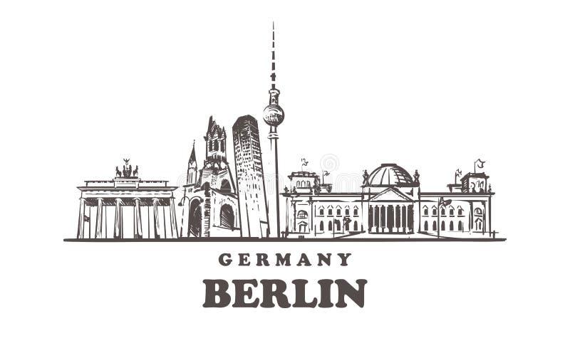 De schetshorizon van Berlijn De getrokken vectorillustratie van Berlijn, Duitsland hand stock illustratie