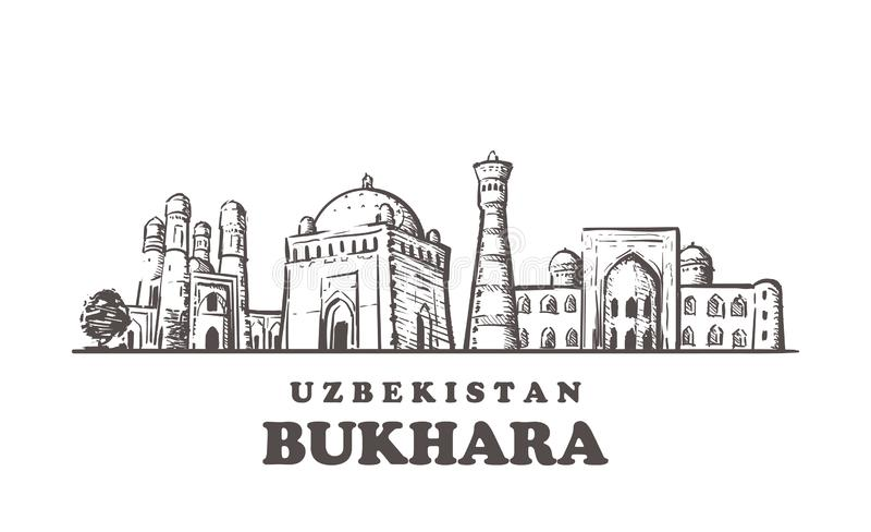 De schetshorizon van Boukhara De getrokken illustratie van Boukhara, Oezbekistan hand royalty-vrije illustratie