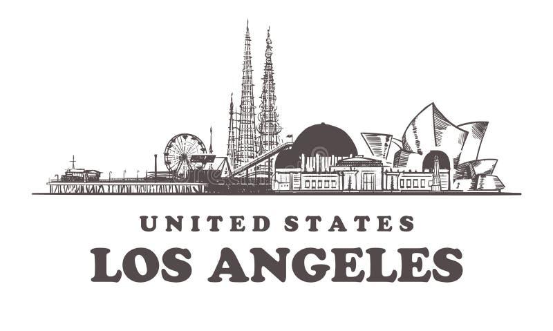 De schetshorizon van Los Angeles De getrokken vectorillustratie van Californië, Los Angeles hand vector illustratie