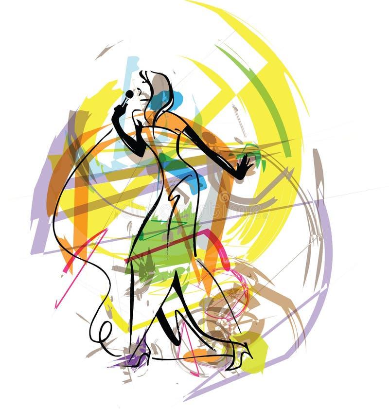 De schetsillustratie van de zanger vector illustratie