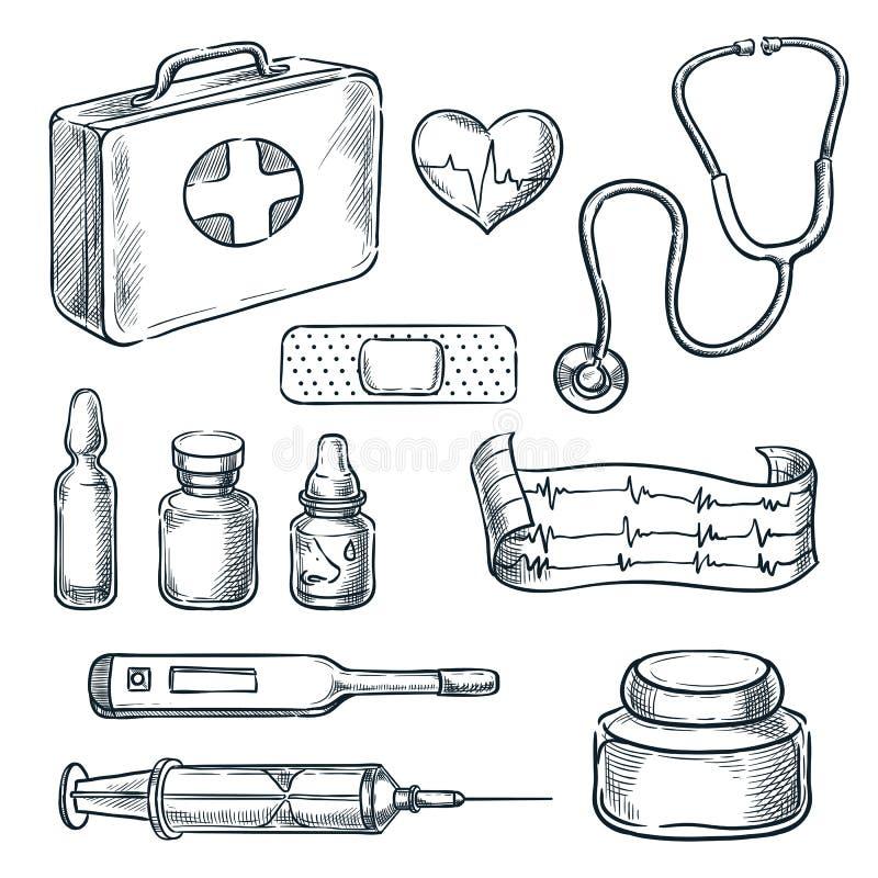 De schetsillustratie van de eerste hulpuitrusting Geneeskunde en gezondheidszorghand getrokken pictogrammen en ontwerpelementen stock illustratie