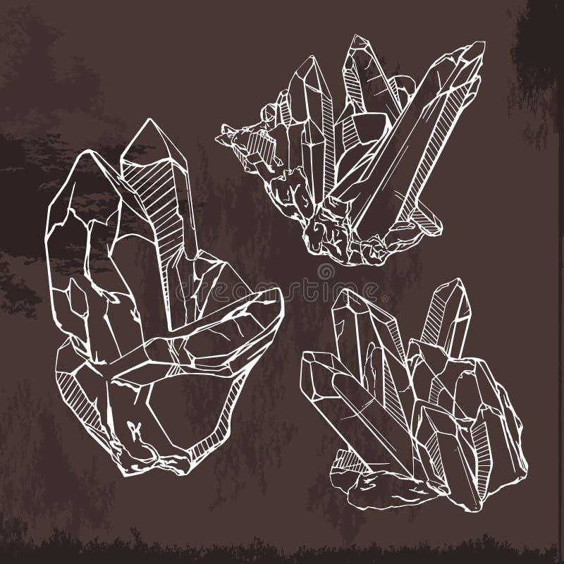 De schetsillustratie van kristalgemmen