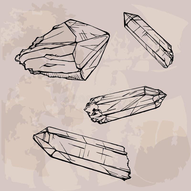 De schetsillustratie van kristalgemmen royalty-vrije illustratie