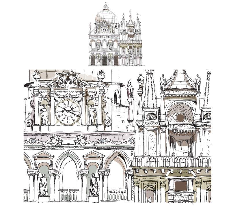 De schetsinzameling van Venetië, het hof van de Doge, gedetailleerde illustratie vector illustratie