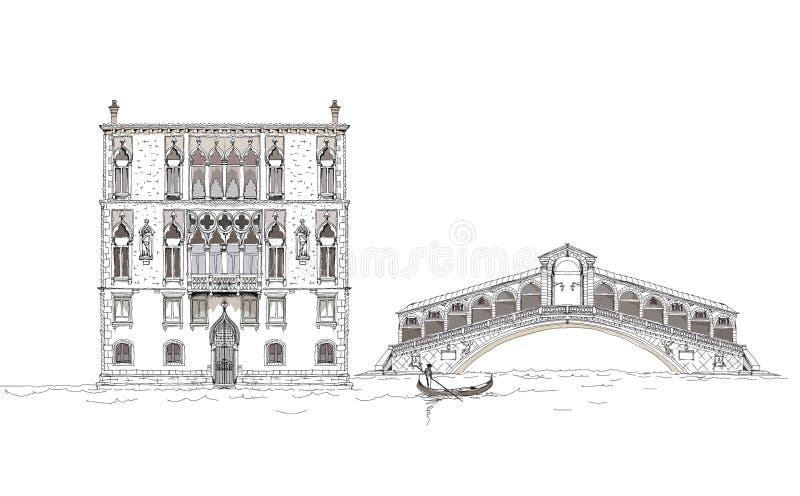 De schetsinzameling van Venetië, het kanaalillustratie van Venetië vector illustratie