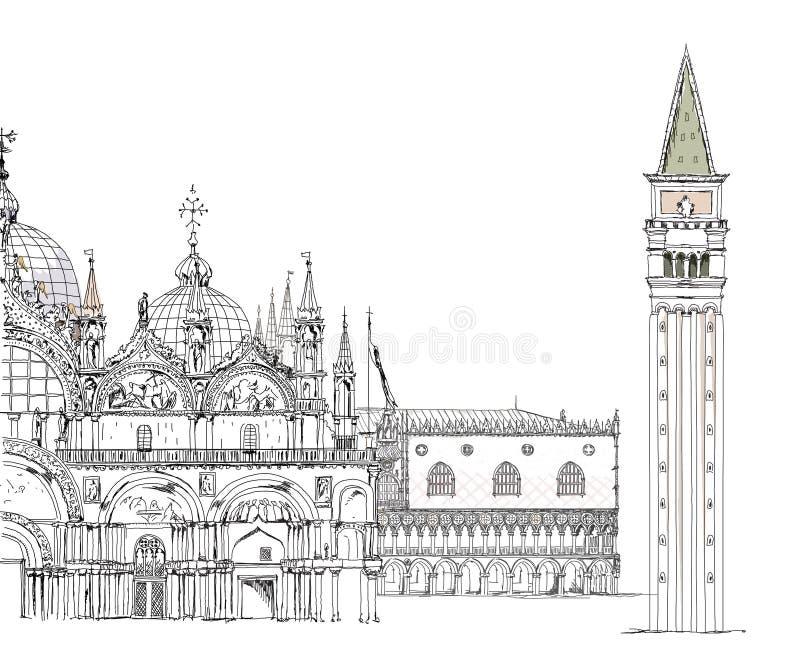 De schetsinzameling van Venetië, het paleis van de Doge, San Marco en toren royalty-vrije illustratie