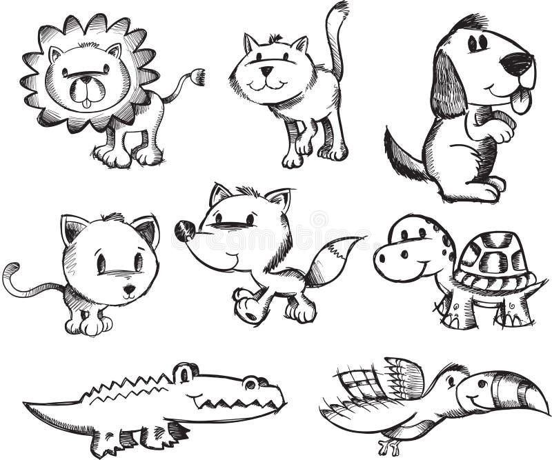 De schetsmatige Dierlijke Reeks van de Krabbel stock illustratie