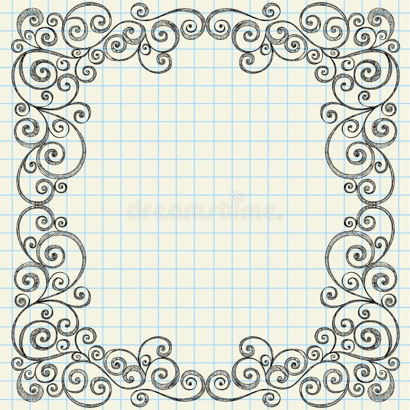 De schetsmatige Grens van Krabbels op het Document van het Notitieboekje stock illustratie