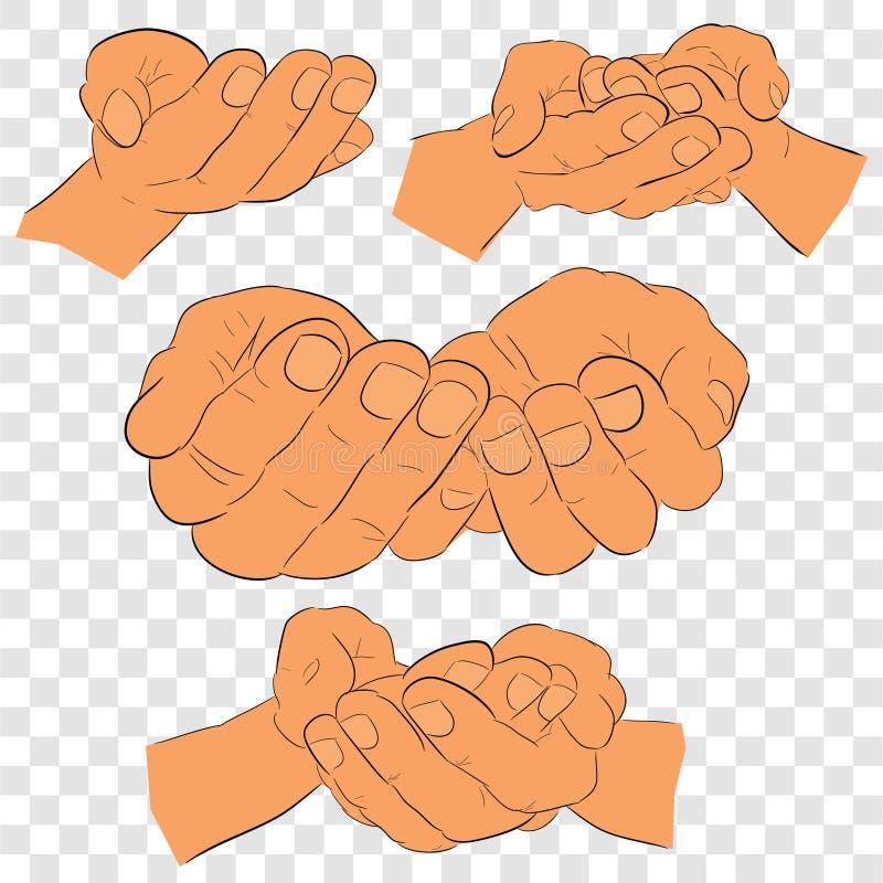De schetsmatige Hand van het 4 Stijlgebaar, Klaar om iets, vlakke kleur bij transparante effect achtergrond te ontvangen of te ge stock illustratie