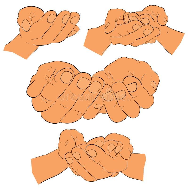 De schetsmatige Hand van het 4 Stijlgebaar, Klaar om iets, vlakke kleur te ontvangen of te geven royalty-vrije illustratie