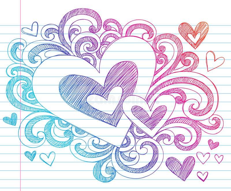 De Schetsmatige Krabbels van de Liefde van de Valentijnskaart van harten vector illustratie