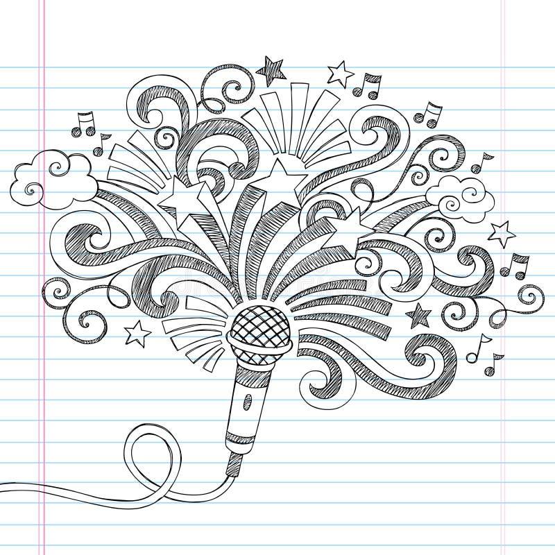 De Schetsmatige Krabbels Vectorillustrati van de microfoonmuziek stock illustratie