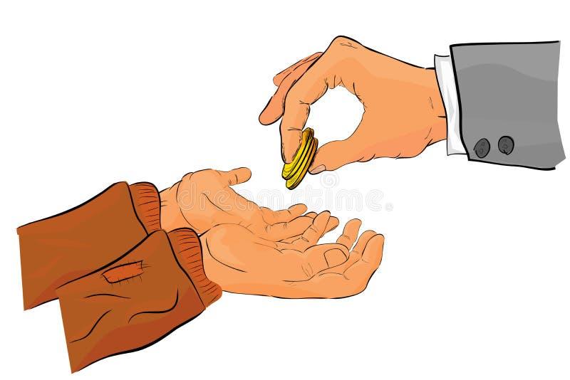De schetsmatige rijke manhand geeft een schenking aan slechte  stock illustratie