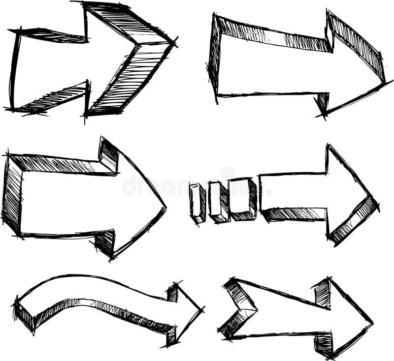 De schetsmatige vastgestelde Vector van de Pijl stock illustratie