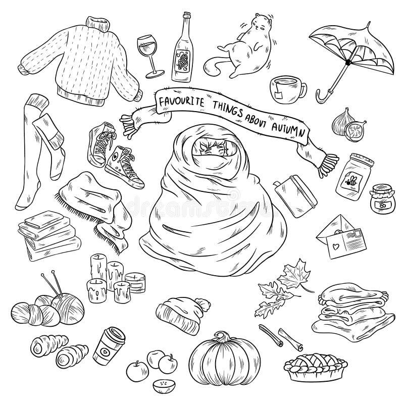 De schetsmatige vectorhand getrokken reeks van het Krabbelbeeldverhaal voorwerpen en de symbolen op de herfst als thema hebben De stock illustratie