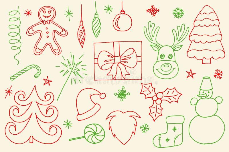 De schetsmatige vectorhand getrokken reeks van het Krabbelbeeldverhaal voorwerpen en symbolen op Vrolijke Kerstmis royalty-vrije stock foto