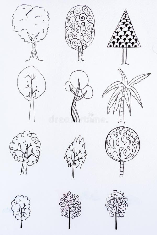 De schetsontwerp van de krabbelboom stock afbeelding