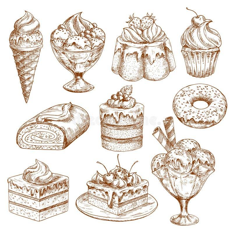 De schetspictogrammen van de bakkerijwinkel van vectorgebakjedesserts royalty-vrije illustratie