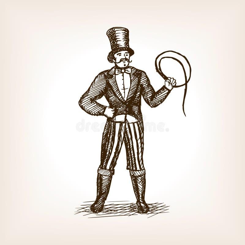 De schetsvector van de circus dierlijke trainer royalty-vrije illustratie