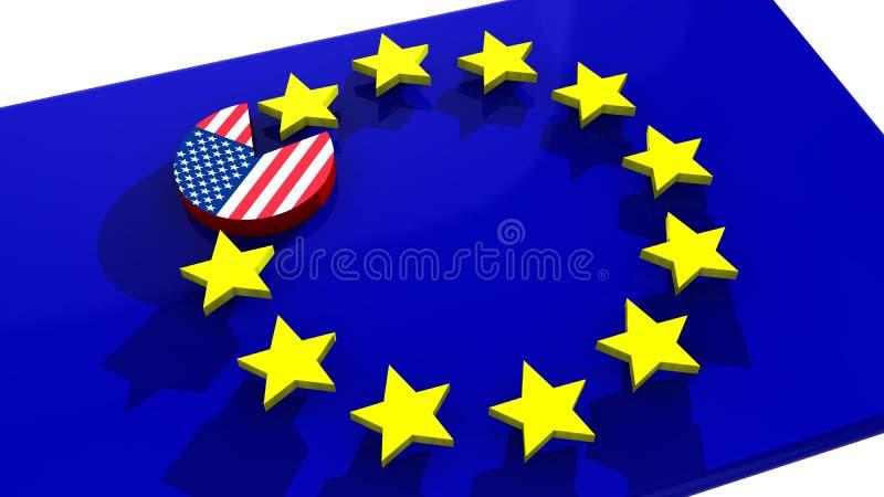 De schijf die van de EU van de V.S. de euro ster van TTIP eten stock illustratie