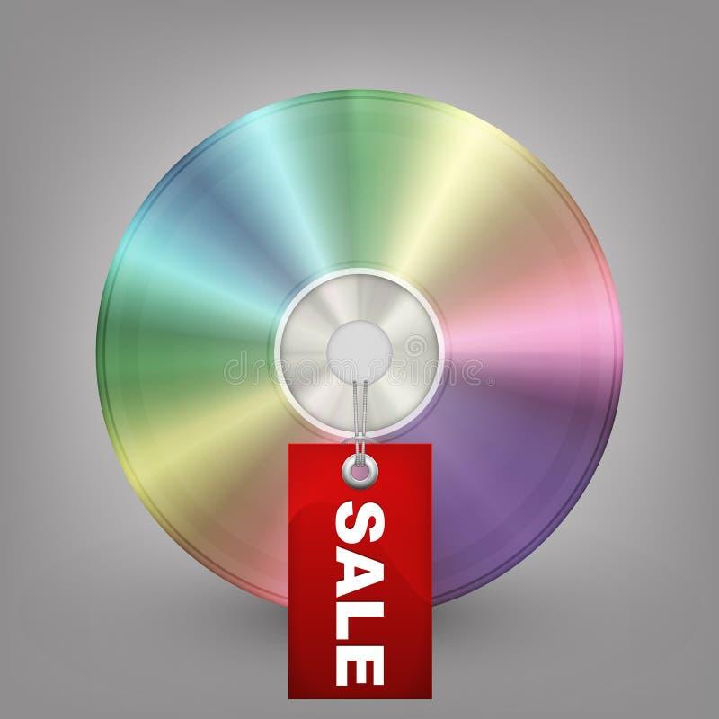 De schijf van blauw-Ray, van DVD of CD met etiketverkoop. Vector i royalty-vrije illustratie
