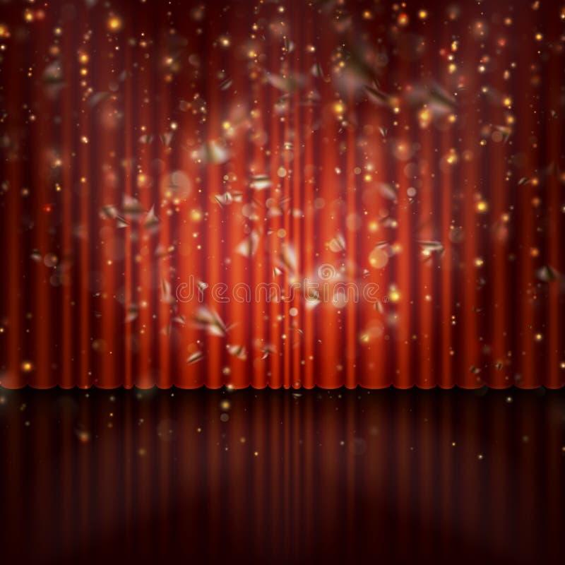 De schijnwerper op rood gordijn met schittert licht EPS 10 vector stock illustratie