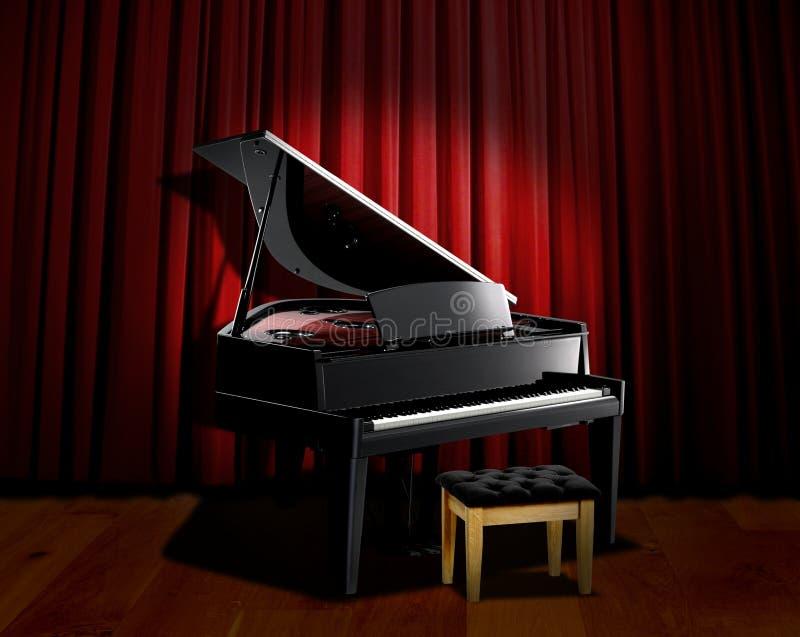 De schijnwerper van de piano met rood gordijn royalty-vrije stock foto's