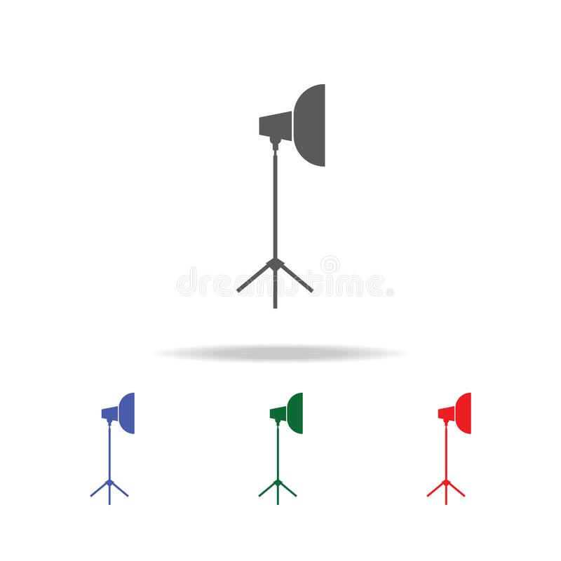 De Schijnwerperpictogram van de fotocamera Elementen van fotocamera in multi gekleurde pictogrammen Grafisch het ontwerppictogram royalty-vrije illustratie