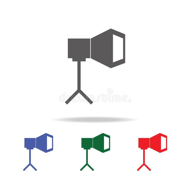 De Schijnwerperpictogram van de fotocamera Elementen van fotocamera in multi gekleurde pictogrammen Grafisch het ontwerppictogram vector illustratie