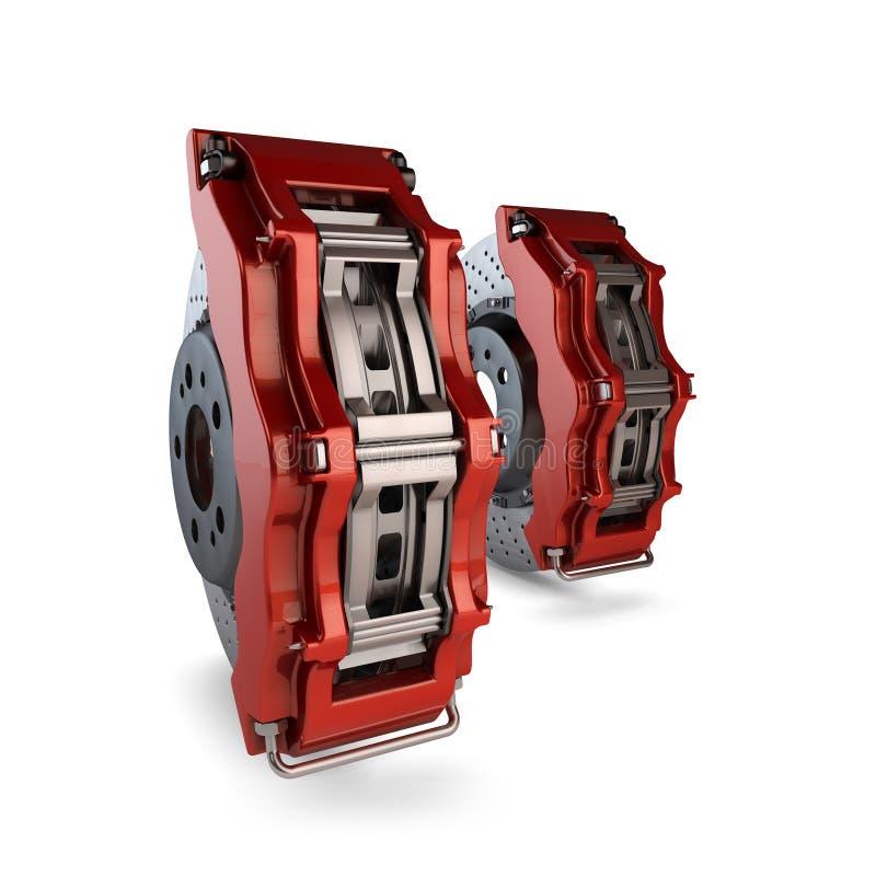 De Schijven van de rem met Rode Beugels van een Raceauto royalty-vrije illustratie
