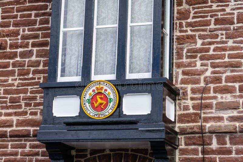 De schil is een kuststad en een kleine vissershaven op het Eiland Man, in de historische parochie van het Duits maar afzonderlijk stock afbeelding