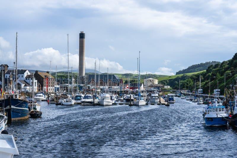 De schil is een kuststad en een kleine vissershaven op het Eiland Man, in de historische parochie van het Duits maar afzonderlijk royalty-vrije stock fotografie