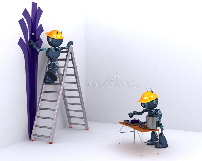 De schilder en de decorateur van Android royalty-vrije illustratie