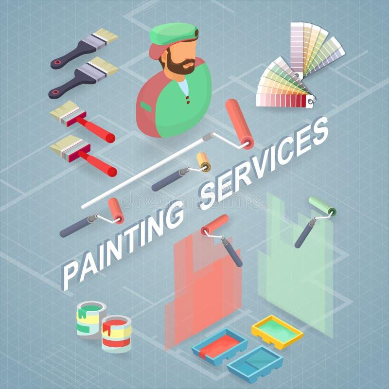 De schilderende diensten Isometrisch de bouwconcept Arbeider, materiaal stock illustratie