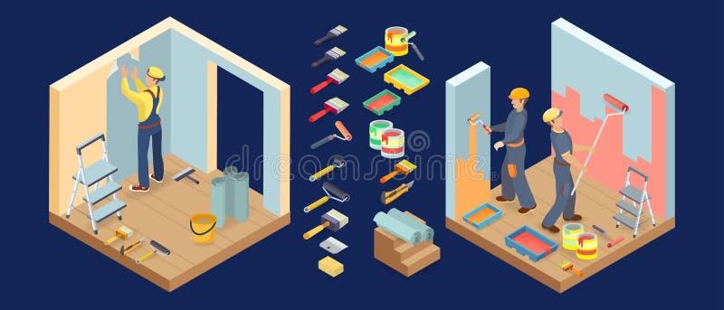 De schilderende diensten Isometrische binnenlandse reparatiespictogrammen Vector 3d illustratie royalty-vrije illustratie