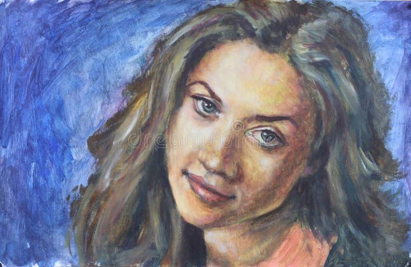 De schilderende grote ogen van het Vrouwenportret en weelderig haar op blauwe achtergrond royalty-vrije stock afbeeldingen