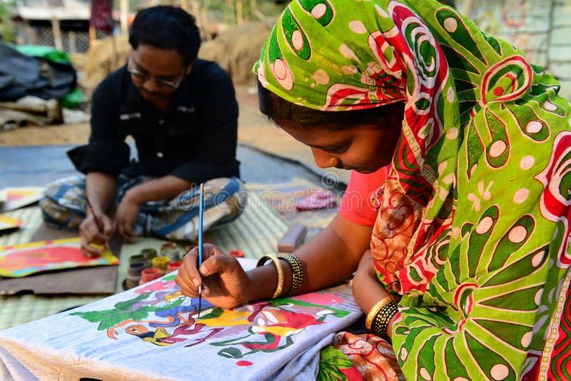De Schilderijen van Bengalen Patachitra stock foto