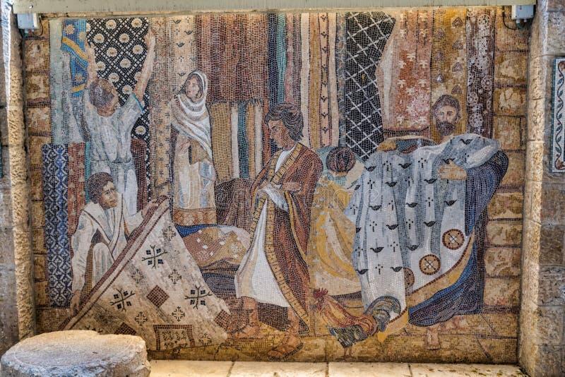 De schilderijen van de Cardostraat in Armeens kwart in Jeruzalem royalty-vrije stock foto