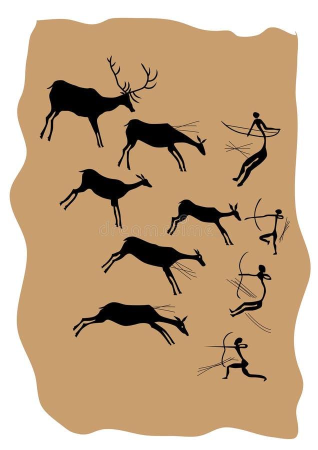 De schilderijen van de rots vector illustratie