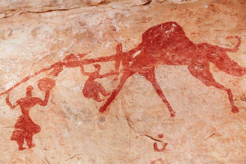 De schilderijen van de rots van Tassili N'Ajjer, Algerije stock afbeelding