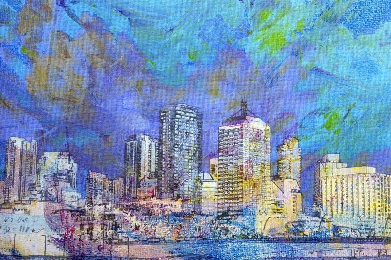De schilderijen van de stad stock illustratie
