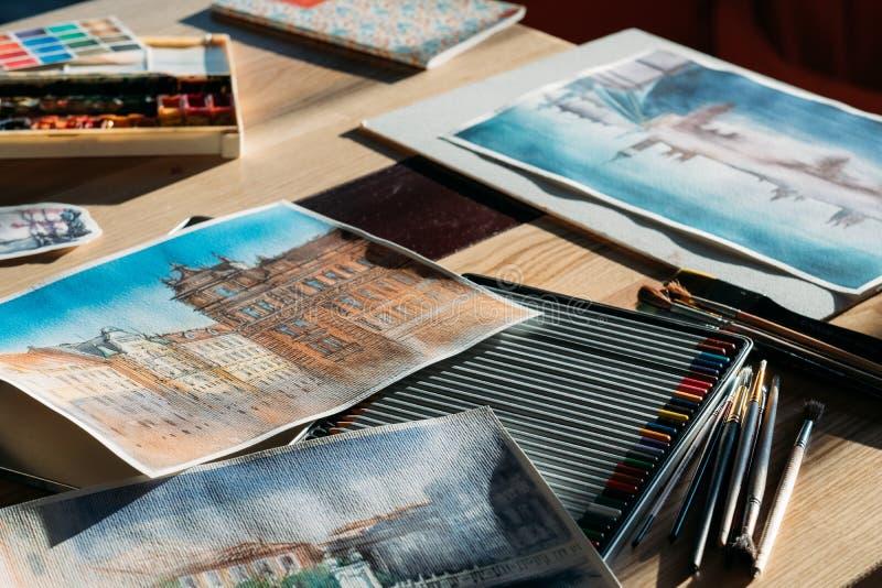 De schilderskunstwerken van de werkplaats artistieke inspiratie royalty-vrije stock afbeelding